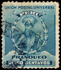 PERU - CIRCA 1896: A stamp printed in Peru shows Francisco Pizar