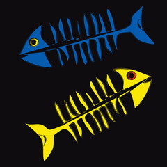 Blue and yellow fishbones on black background