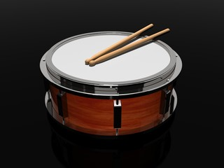 Wood drum with drumsticks