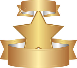 golden star with ribbons