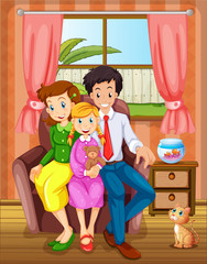 A smiling family inside the house