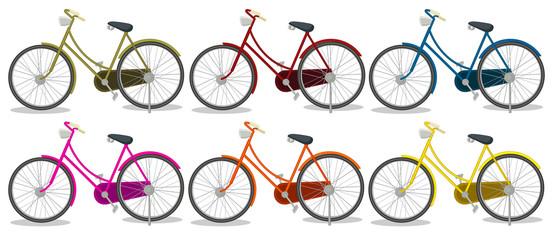 Six colorful bikes