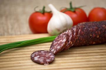 Smoked sausage with rustic food