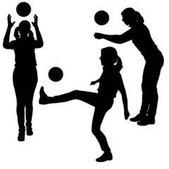 Vector silhouettes of women in sport.