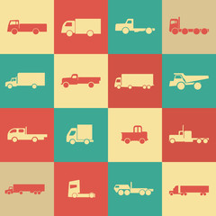 Retro transport truck icons