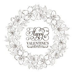Floral wreath - Valentine design.