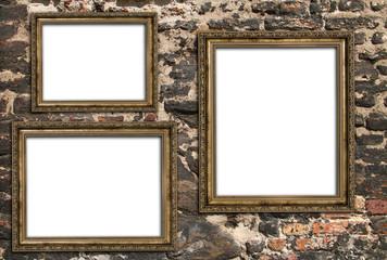 Three empty wooden frames Wall mural