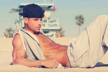 Young man beach