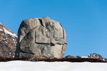 Eskimo Inuit Stone Carving near Sisimiut Airport, Greenland.
