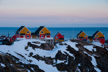 Wooden houses with dusk sky, Sisimiut, Greenland.