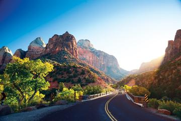 Zelfklevend Fotobehang Diepbruine A stunning view of Zion Canyon