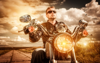 Wall Mural - Biker on a motorcycle