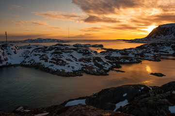 Printed roller blinds Pole Sunset view at Sisimiut, Greenland.