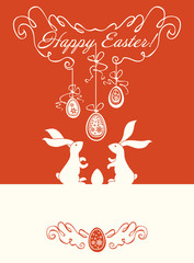 Easter card with bunnies and Easter eggs.