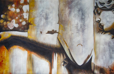 Ölgemälde Gemälde Kunstdruck Engel Skulptur