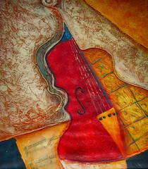 Ölgemälde Gemälde Kunstdruck Violine Musik