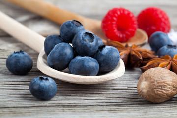 Fresh Blueberries on wooden Background