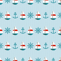 Seamless sea pattern of sailboats, anchors and steering wheels