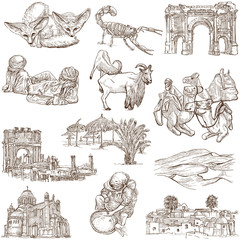 ALGERIA. Collection of hand drawn illustrations on white