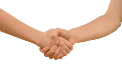 Young man and woman shaking hands