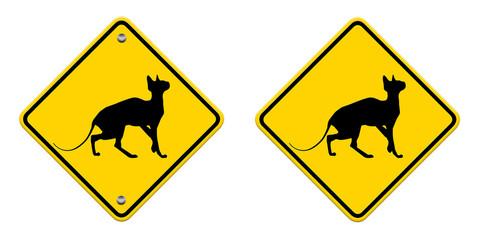 beware cat crossing traffic sign, part of a series