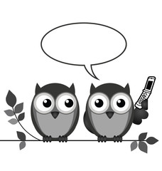 Wall Murals Birds, bees Monochrome owl on mobile phone