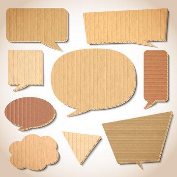 Cardboard speech bubbles set