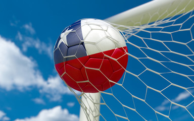 Chile flag and soccer ball in goal net