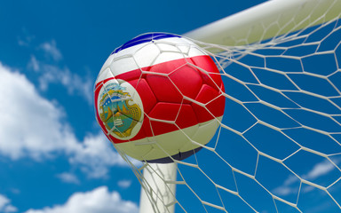 Costa Rica flag and soccer ball in goal net