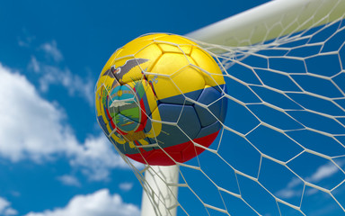 Ecuador flag and soccer ball in goal net