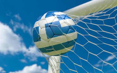 Greece flag and soccer ball in goal net