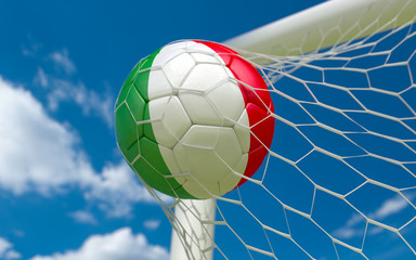 Italy flag and soccer ball in goal net