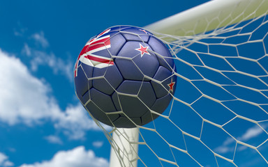New Zealand flag and soccer ball in goal net