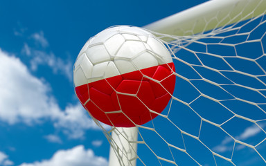 Poland flag and soccer ball in goal net