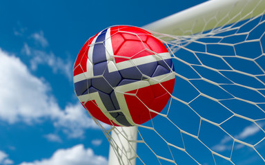 Norway flag and soccer ball in goal net