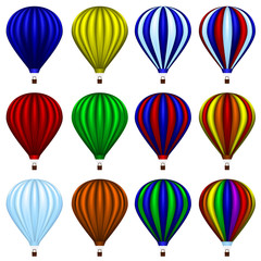 Set of twelve hot air balloons isolated on white