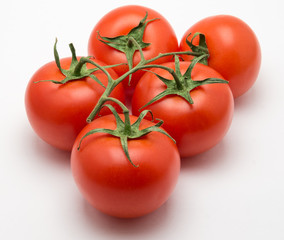 Five tomatoes on a white background