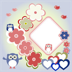 Seamless colourfull owl flower pattern for kids