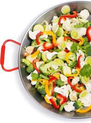 vegetables in a griddle