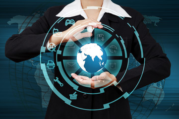 Wall Mural - Business woman showing globe and icon application on virtual scr