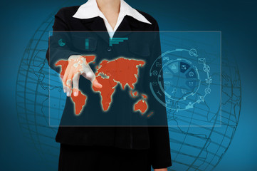 Wall Mural - Business woman touching the world map and icon application on vi