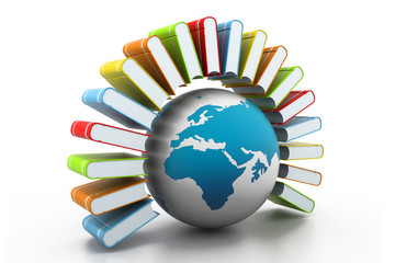 colorful books with world