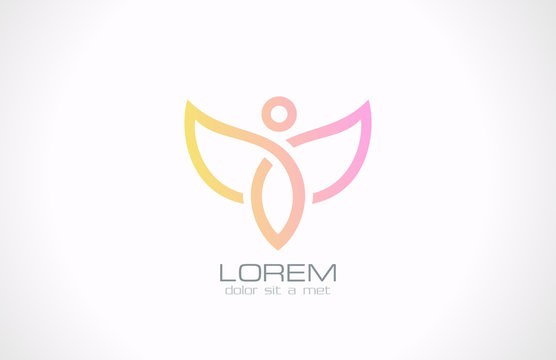Woman with wings vector logo design template. Flying man