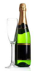 Bottle of champagne and empty champagne glass, isolated on