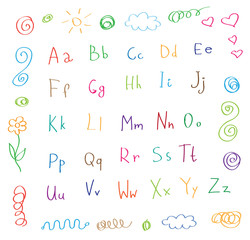 cartoon style alphabet children drawing vector