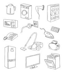 everyday household appliances vector set