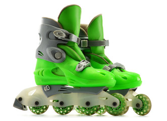 A pair of inline skates isolated on white background