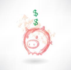 Piggy moneybox grunge icon