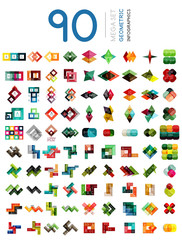 Set of geometric shaped infographic option banners