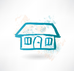 Blue cartoon house. Brush icon.